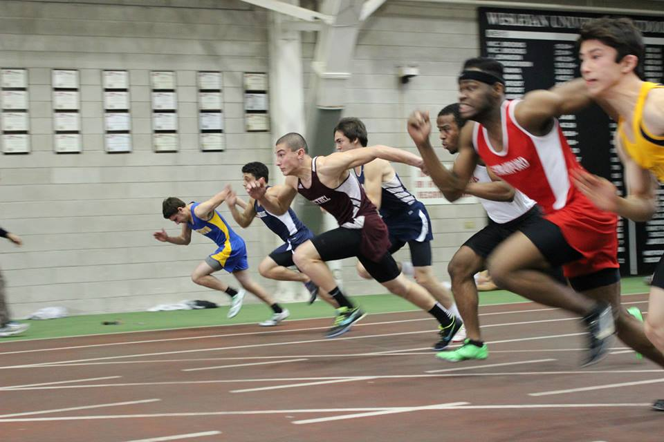 Joey Piatnik Pulls Ahead in the 1st Heat of the 55m Dash at Wesleyan University on Jan. 20